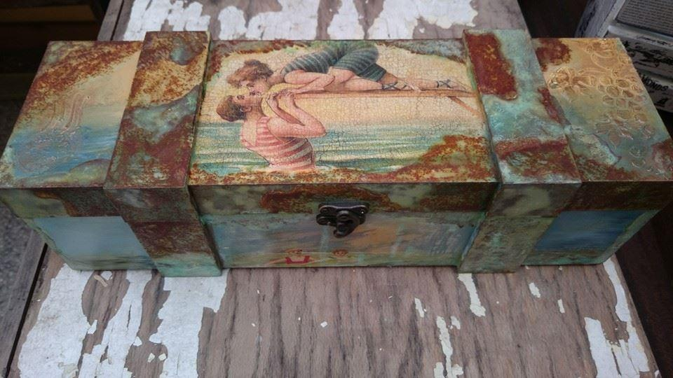 Кутия за вино с ръждясъл ефект Retro Sea party
