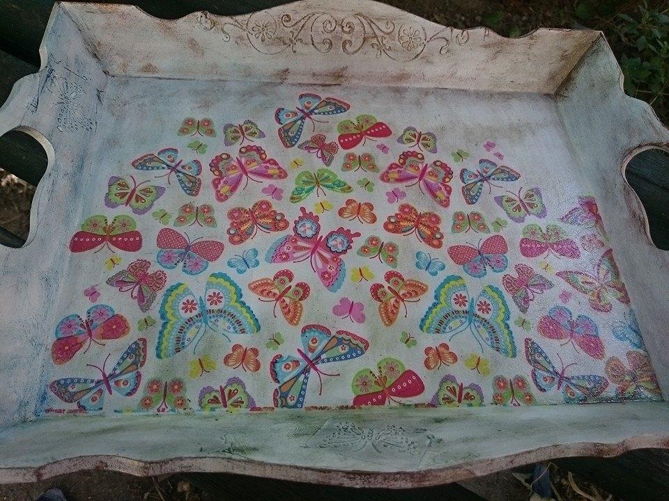 Поднос Пеперуди ръчна изработка