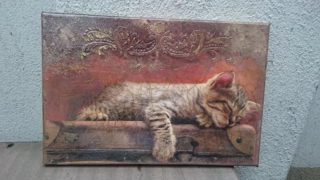 Ръчно декорирано пано Sleepy kitty