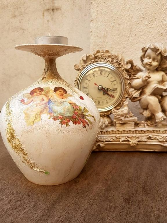 Красив свещник с ангели Gorgeous ръчно декориран
