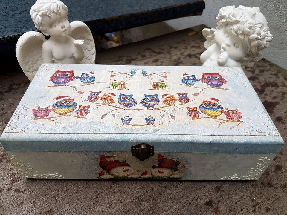 Много красива и сладка кутия за чай или бижута Бухали ръчна изработка