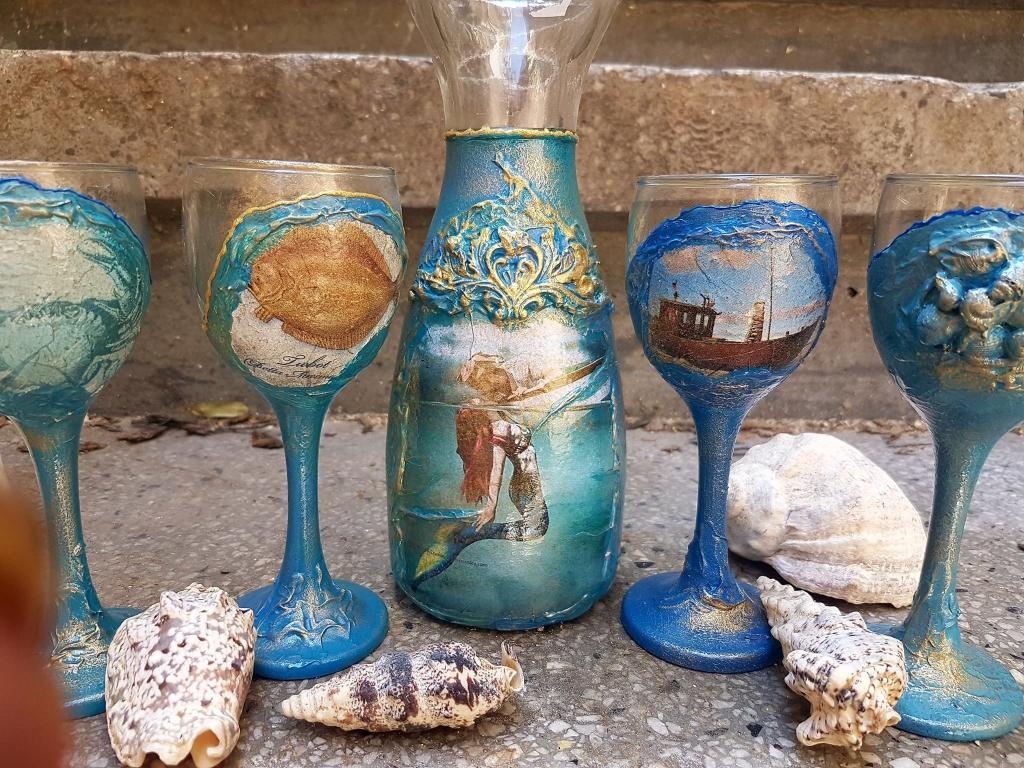 Гарафа с чаши за ракия Kiss of mermaid