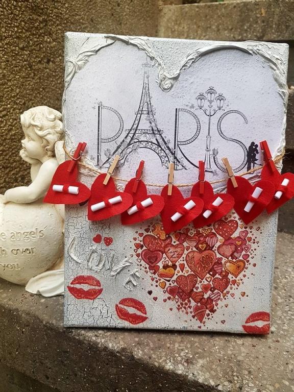 Ръчно декорирано пано LOve in Paris със седем любовни пожелания