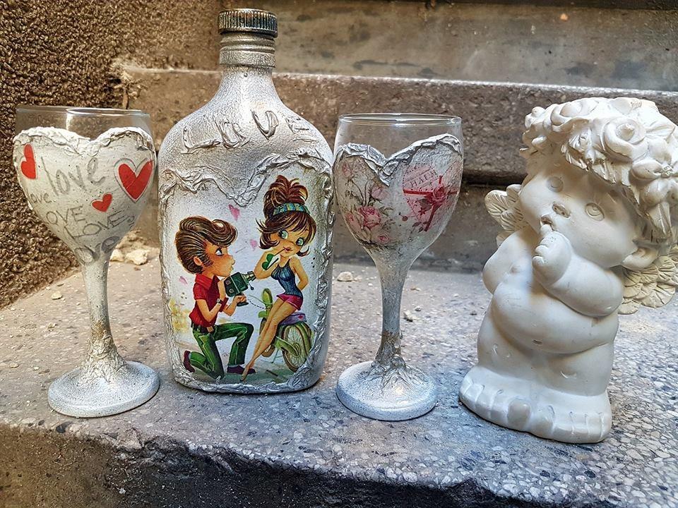 Романтични чаши за ракия с малка бутилчица Be mine